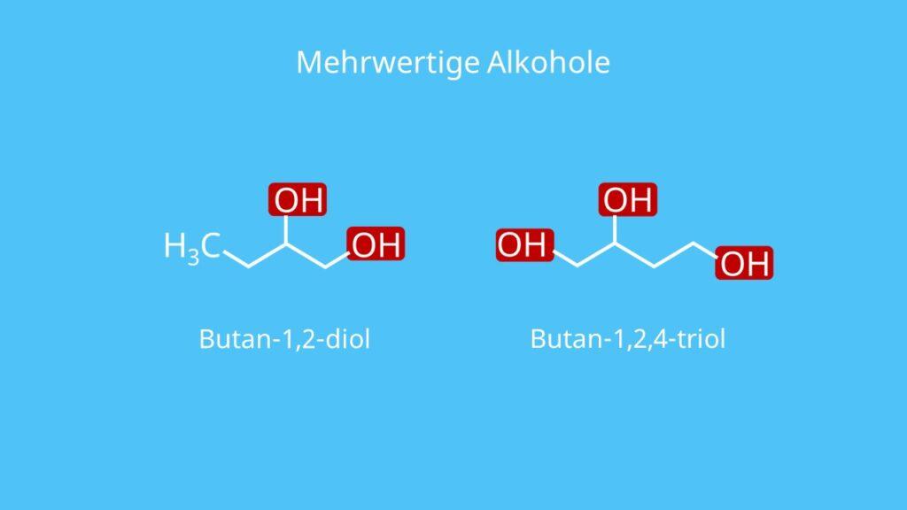 mehrwertiger Alkohol, Alkohole, Butan-1,2-diol, Butan-1,2,4-triol