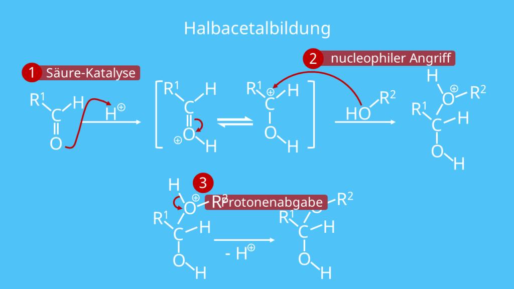 Halbacetalbildung, Acetal, Halbacetal 3 Schritt Mechanismus
