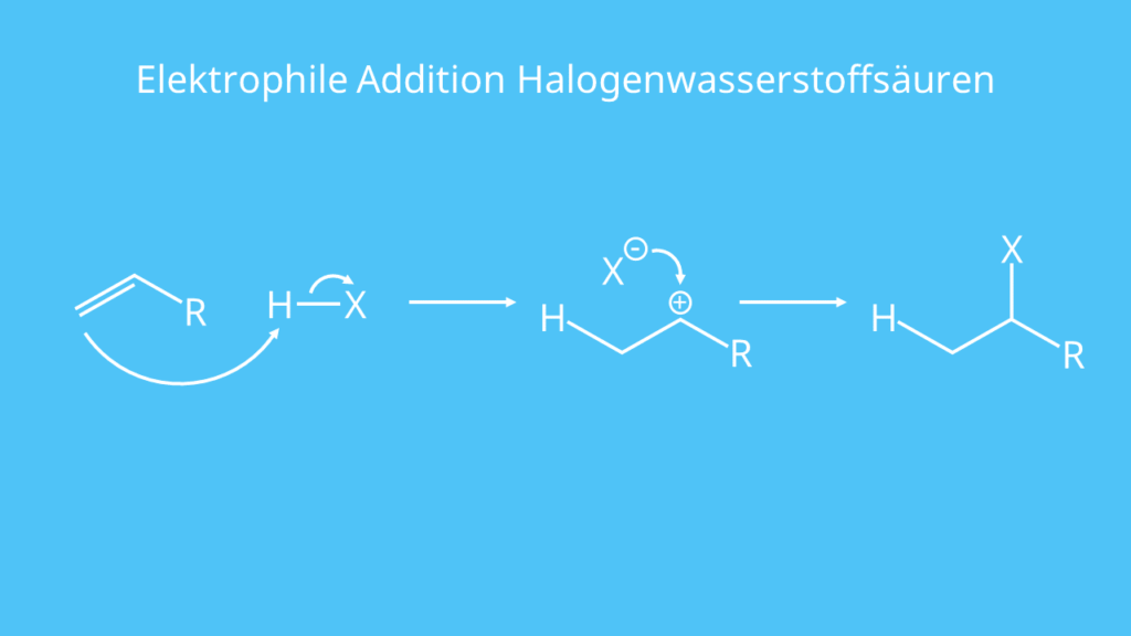 Elektrophile Addition Halogenwasserstoffsäuren, Carbenium-Ion, Markovnikov Regel, Elektrophile Addition, Doppelbindung, Säure, Induktiver Effekt