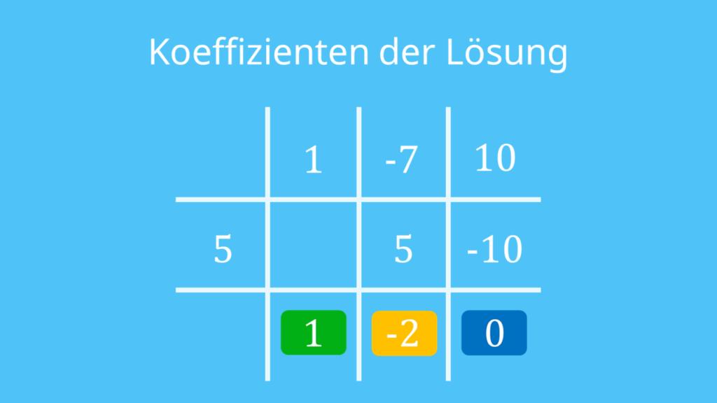 letzter Schritt: Ergebnis ablesen und aufschreiben, Horner-Schema, Horner-Schema Aufbau