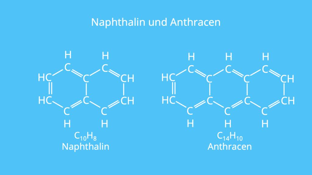 Naphthalin, Anthracen, cyclisch, planar, durchkonjugiert, Hückel-Regel, Aromat, aromatisch, Ringsystem