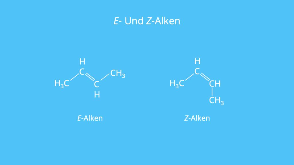 Ungesättigter Kohlenwasserstoff, Doppelbindung, Nomenklatur, E- und Z-Nomenklatur, Isomere, Konfigurationsisomere
