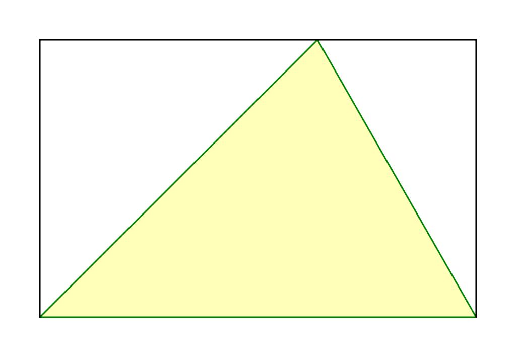 Dreieck Flächeninhalt Formel Herleitung, Dreieck in Rechteck