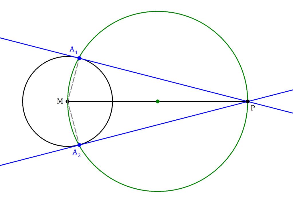 Kreistangente konstruieren, Konstruktion Kreistangente, Satz des Thales Aufgabe, Thaleskreis Aufgabe