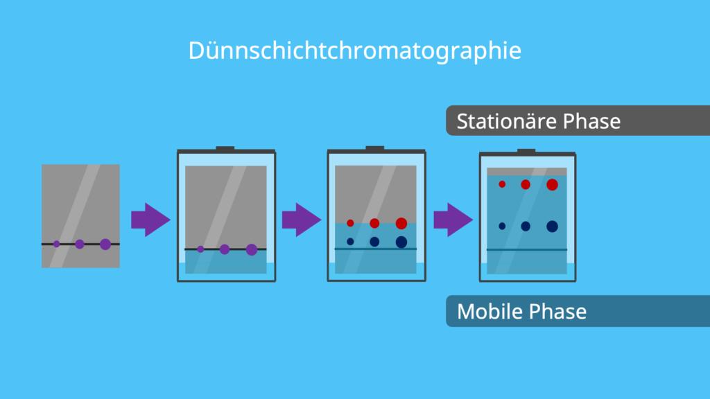 Laufmittel, mobile Phase, stationäre Phase, Lösungsmittel, Dünnschichtchromatografie