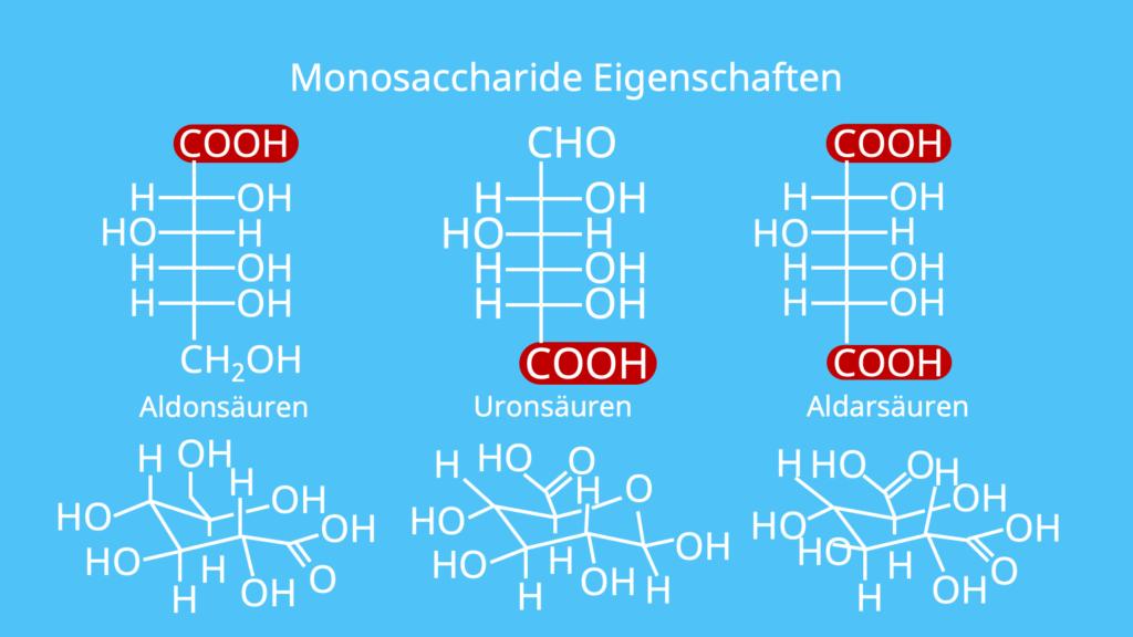 Monosaccharide, Oxidation, Aldonsäure, Uronsäure, Aldarsäure