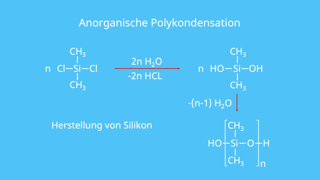 Dimethylsilylchlorid, Kondensationsreaktion, Silikon, nucleophile Substitution