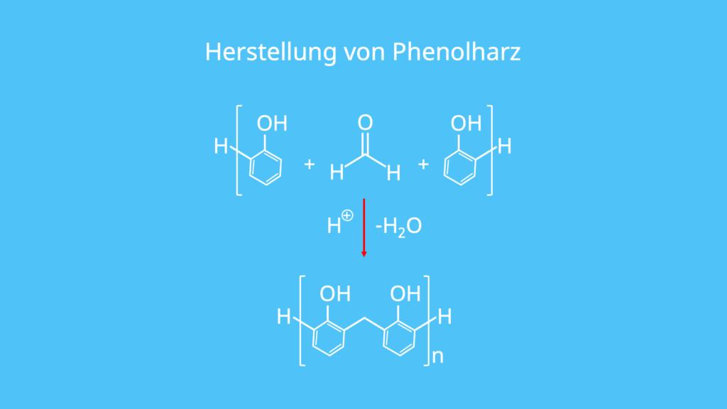Polykondensation, Phenol, Formaldehyd, Kondensationsreaktion