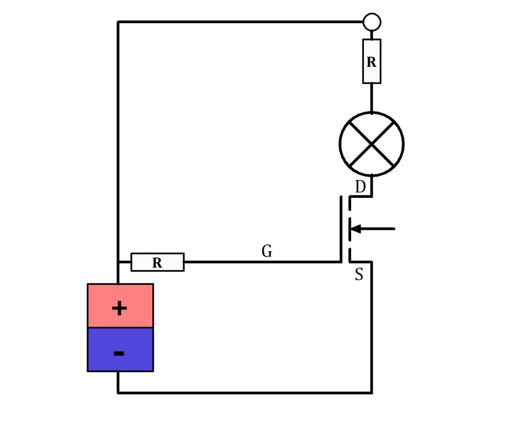 Einfacher Schaltkreis mit NMOS als Schalter, MOSFET als Schalter, MOSFET Schaltung, MOSFET Schaltung Beispiel, NMOS als Schalter, NMOS Schaltung Bild