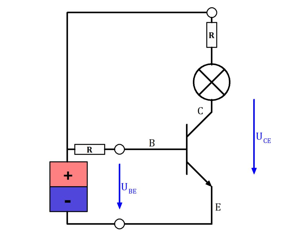 Einfacher Schaltkreis mit NPN Transistor als Schalter, Transistor als Schalter, Transistor Schaltung