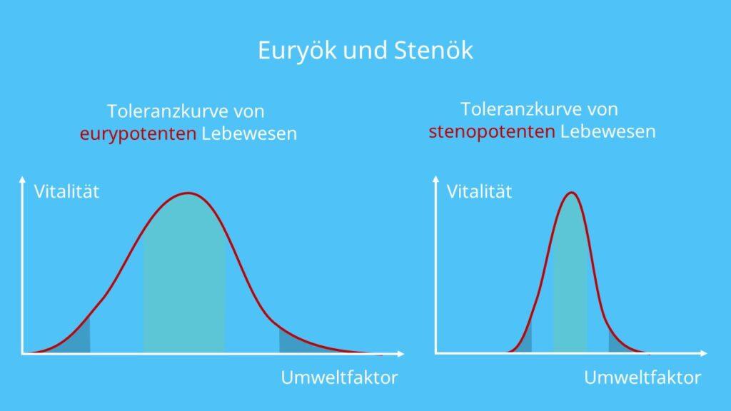 Toleranzkurven, Ökologische Potenz, Physiologische Potenz, eurypotent, Euryökie, Eurypotenz, stenopotent, Stenökie, Stenopoten