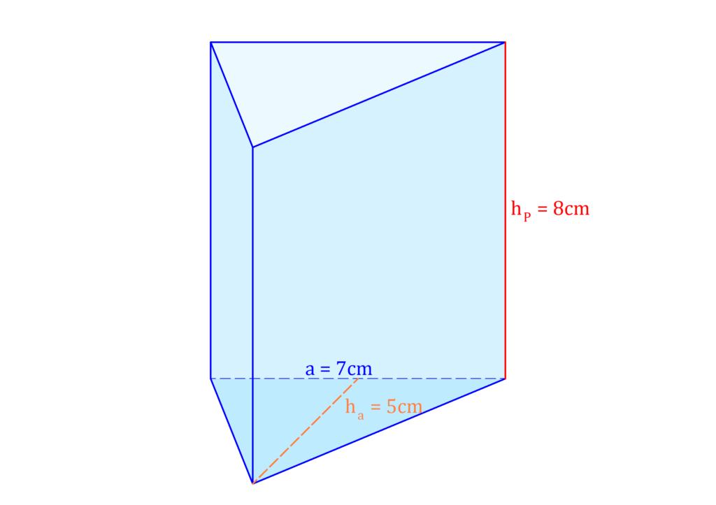 Dreiecksprisma, dreiseitiges Prisma, Prisma mit dreieckiger Grundfläche, Volumen Dreieck, Volumen Prisma