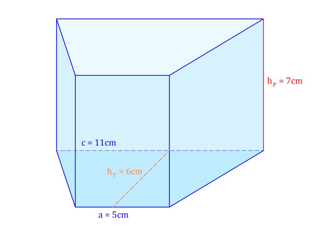 Trapezprisma, Prisma Trapez, vierseitiges Prisma, Trapez Prisma, Prisma vierseitige Grundfläche