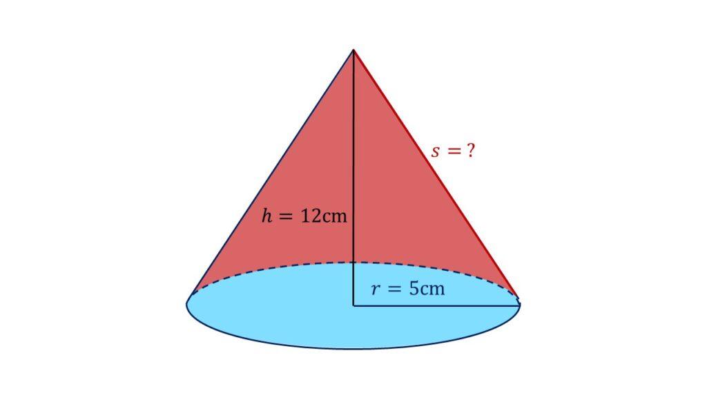 Oberfläche Kegel Beispiel, Kegel Mantellinie berechnen