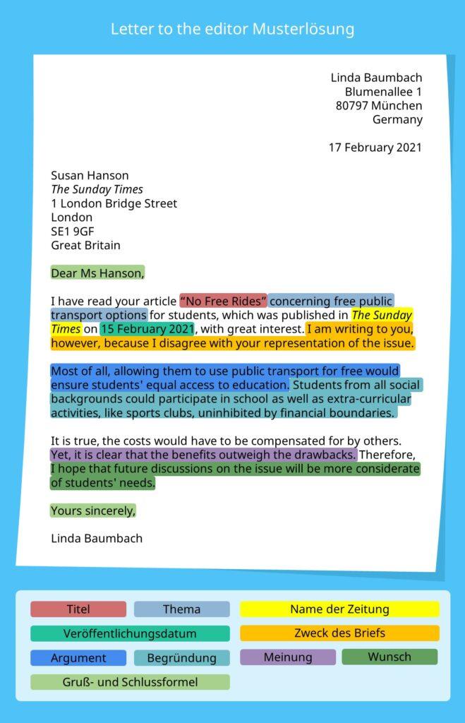 letter to the editor, letter to the editor example, letter to the editor beispiel, letter to the editor Musterlösung, letter to the editor aufbau