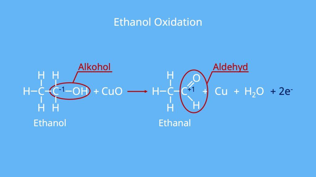 Oxidation von Alkoholen, Oxidationsreaktion, Oxydation, Reduktion Gegenteil, Acetaldehyd, Ethanol Ethanal