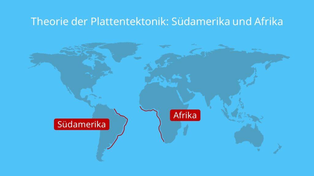 Theorie der Plattentektonik: Südamerika und Afrika, kontinentalverschiebung, theorie der plattentektonik, plattenverschiebung, alfred wegener theorie, entstehung der kontinente, alfred wegener theorie der kontinente, entstehung kontinente, kontinentaldrifttheorie, theorie der kontinentalverschiebung, erdplatten, plattentektonik